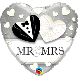 Μπαλόνι Foil Mr & Mrs Silver Wedding